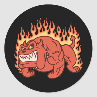 Demon Dog -Flames Classic Round Sticker