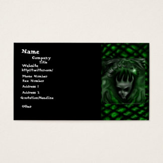 Demon Head with green scale accent, business cards