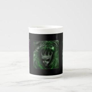 Demon Skulls, purple green teal, specialty mugs Bone China Mug