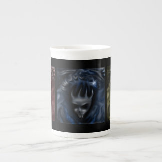Demon Skulls, red blue yellow, specialty mugs Bone China Mug