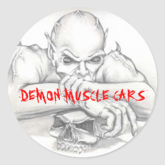 DEMON STICKER, DEMON MUSCLE CARS CLASSIC ROUND STICKER