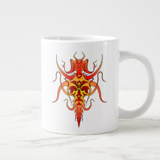 Demon Tribal Tattoo - red and yellow Large Coffee Mug