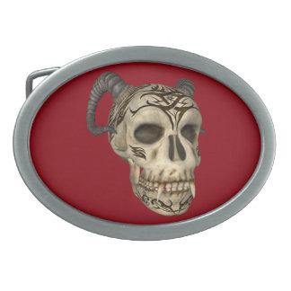 Demon Vampire Skull On Red Oval Belt Buckle