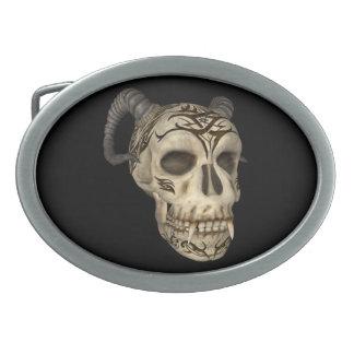 Demon Vampire Skull Oval Belt Buckle