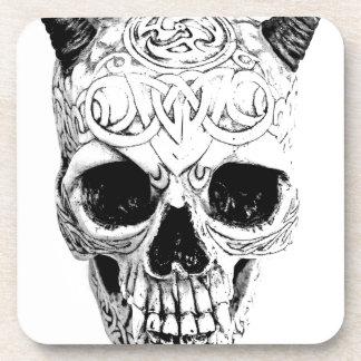 Demonic Halloween Skull. Digital Gothic Horror Coaster