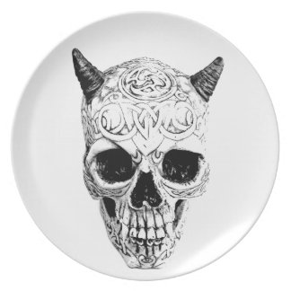 Demonic Halloween Skull. Digital Gothic Horror Plate