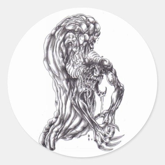 demonic Pencil drawing Round Sticker