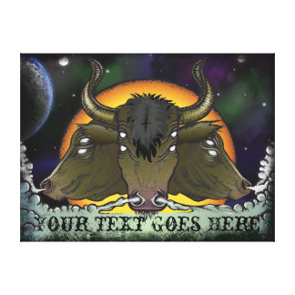 Demonic Space Galaxy Bulls with Text Customization Gallery Wrapped Canvas