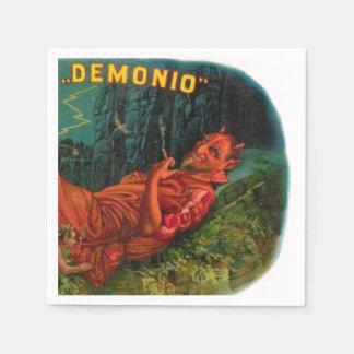 Demonio Red Devil Satan Smoking Cigar Halloween Disposable Napkins