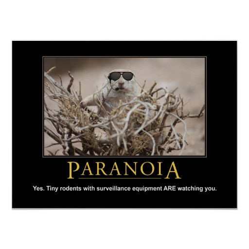 Demotivational Squirrel Poster: Paranoia Posters