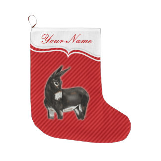 Demure Donkey Digital Art Large Christmas Stocking