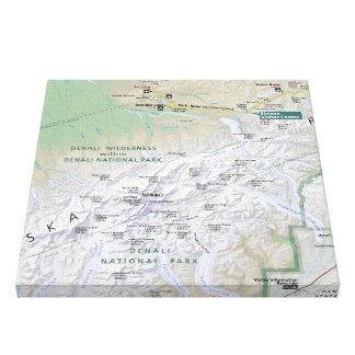 Denali (Alaska) map canvas print