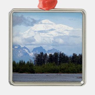 Denali, Mt McKinley, from river, Alaska, USA 1 Silver-Colored Square Decoration