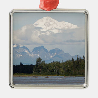 Denali, Mt McKinley, from river, Alaska, USA 3 Christmas Ornament