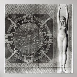 Dendera Zodiac, engraved in 1802 Print