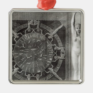 Dendera Zodiac, engraved in 1802 Silver-Colored Square Decoration