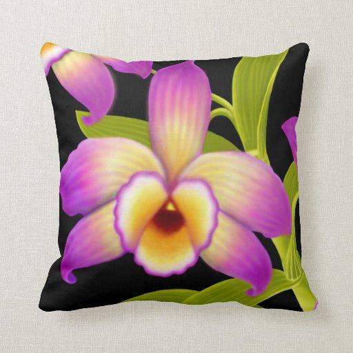 Dendrobium Nobile Orchid Flower Pillow