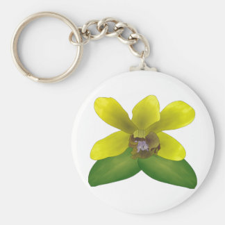 Dendrobium Orchid Basic Round Button Key Ring