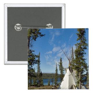 Dene Tribe gathering, Northwest Territories, 15 Cm Square Badge