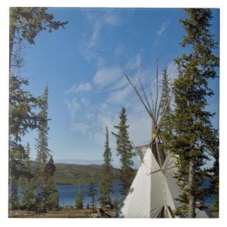 Dene Tribe gathering, Northwest Territories, Large Square Tile