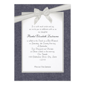 Denim and Bows Bat Mitzvah 5.5x7.5 Paper Invitation Card