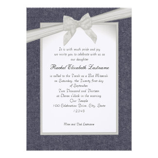 Denim and Bows Bat Mitzvah Personalized Invitation