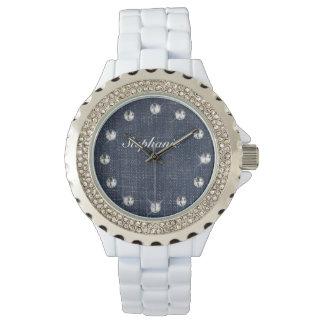 Denim and Diamonds Personalized Watch