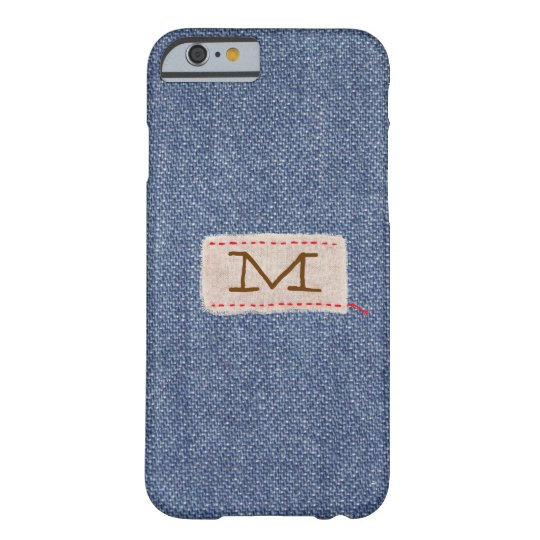 Denim and Fabric Tag Monogram Barely There iPhone