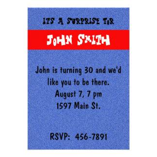 Denim and Red Birthday Invitation