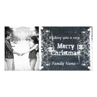 Denim and Shabby Lace Photo Christmas Card Photo Card