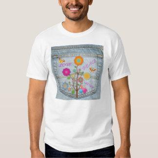 Denim Back Pocket Flowers Peace Love Hope T-shirt