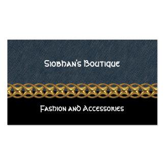 Denim, black, gold chain, monogram business card