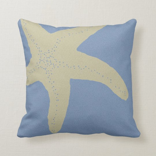 Denim Blue and Beige Starfish Sofa Pillow
