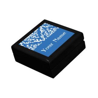 Denim Blue Bold Damask w/ name @ Emporiomoffa Small Square Gift Box