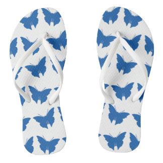 Denim Blue Bold Mod Butterflies Flip Flops