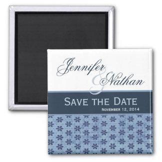 Denim Blue Damask Save the Date Wedding Magnet