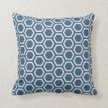 Denim Blue Dark Honeycomb Pattern Cushion