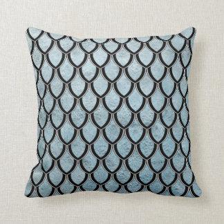 Denim Blue Dragon Scale Watercolor Wash Pillow Throw Cushions