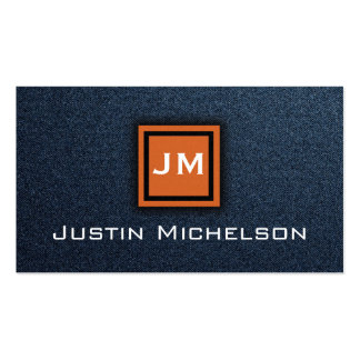Denim Blue Jean with Orange Monogram Business Card