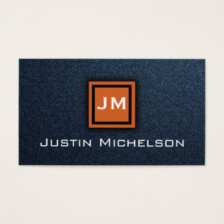 Denim Blue Jean with Orange Monogram Business Card