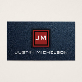 Denim Blue Jean with Red Monogram Business Card