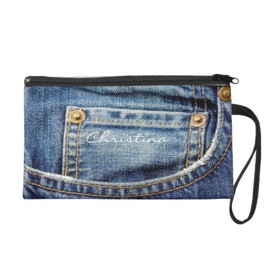 Denim blue jeans custom girls name wristlet