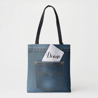 Denim Blue Jeans Pocket Tote Bag