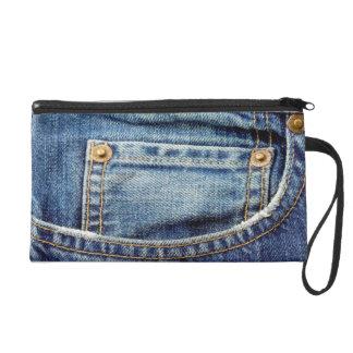 Denim blue jeans pocket wristlet