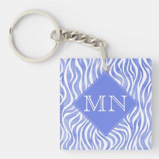 Denim Blue Watercolor Zebra Print | Monogram Key Ring