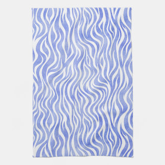 Denim Blue Watercolor Zebra Print Tea Towel