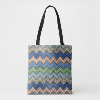 Denim Chevron All-Over-Print Tote Bag