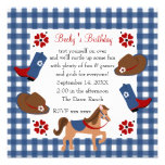 Denim Cowgirl Birthday Personalised Announcement