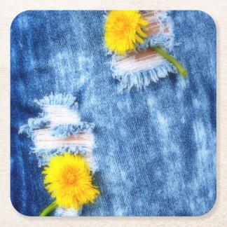 Denim Dandelions Square Paper Coaster