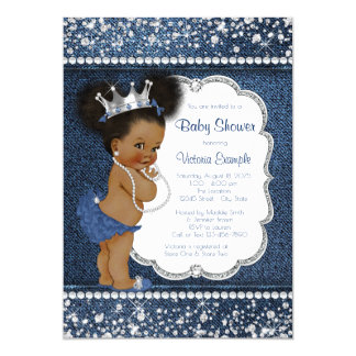 Denim Diamond Girls African American Baby Shower Card
